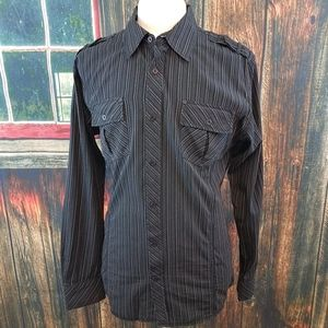 BKE SLIM FIT STRIPED BUTTON UP WESTERN SHIRT